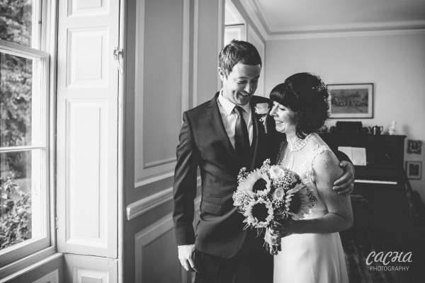 Bride and Groom portrait at Crook Hall and Gardens, Newcastle wedding photography by Cacha Photography